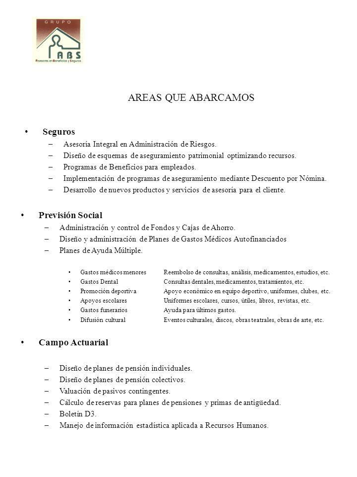 AREAS QUE ABARCAMOS Seguros Previsión Social Campo Actuarial