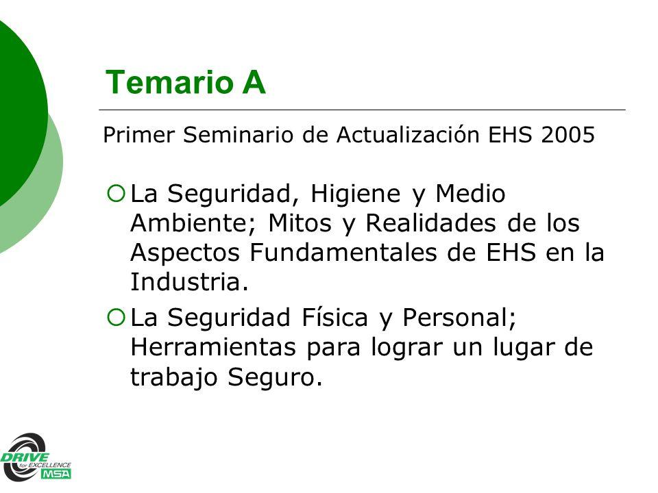 Temario A Primer Seminario de Actualización EHS 2005.