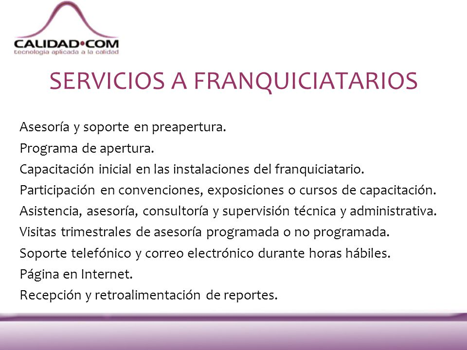 SERVICIOS A FRANQUICIATARIOS
