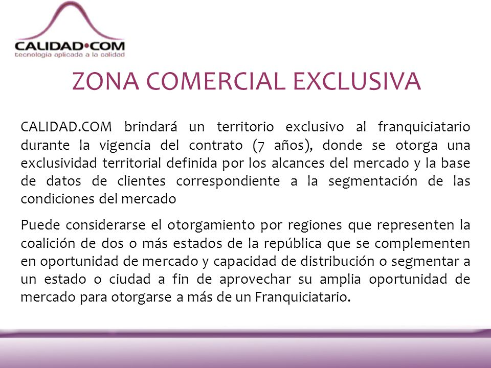 ZONA COMERCIAL EXCLUSIVA