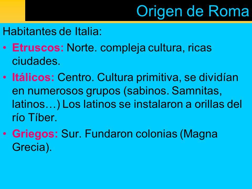 Origen de Roma Habitantes de Italia: