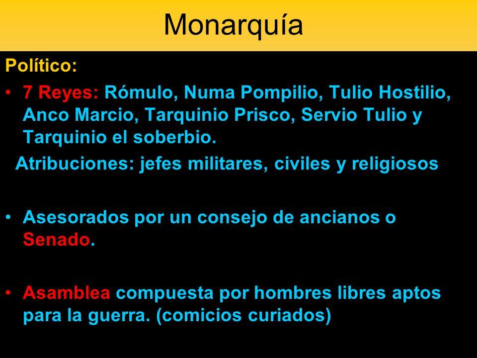 Monarquía Político: 7 Reyes: Rómulo, Numa Pompilio, Tulio Hostilio, Anco Marcio, Tarquinio Prisco, Servio Tulio y Tarquinio el soberbio.