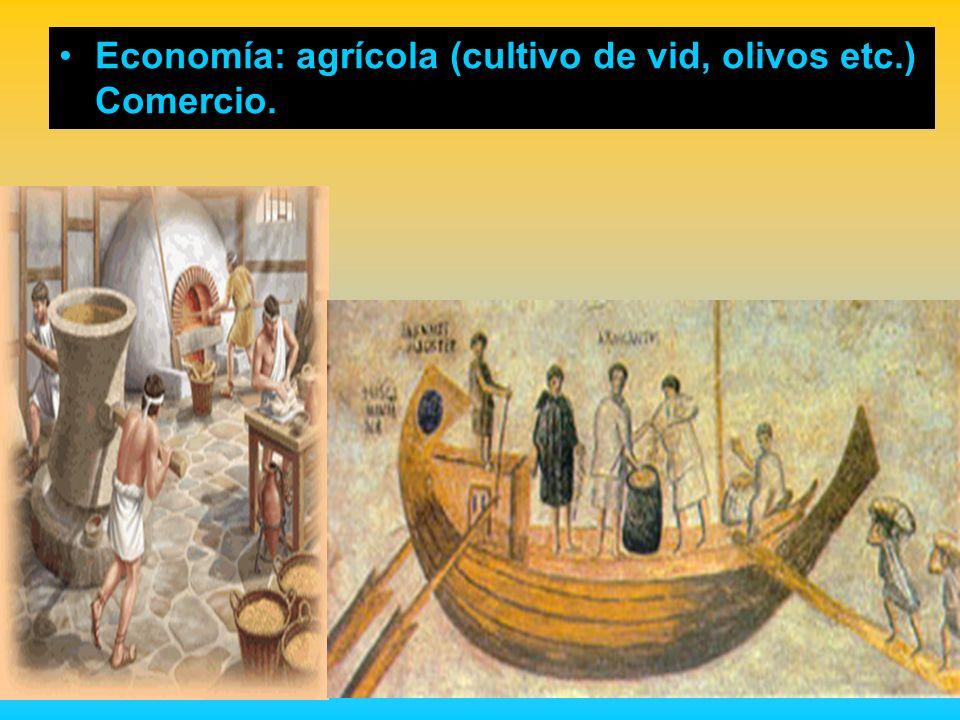 Economía: agrícola (cultivo de vid, olivos etc.) Comercio.