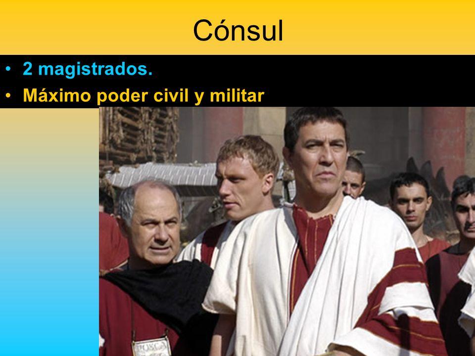 Cónsul 2 magistrados. Máximo poder civil y militar