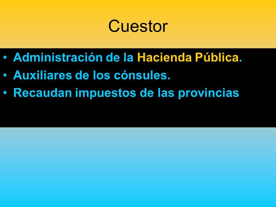 Cuestor Administración de la Hacienda Pública.