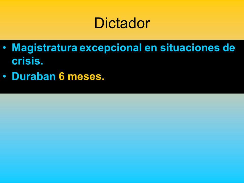 Dictador Magistratura excepcional en situaciones de crisis.