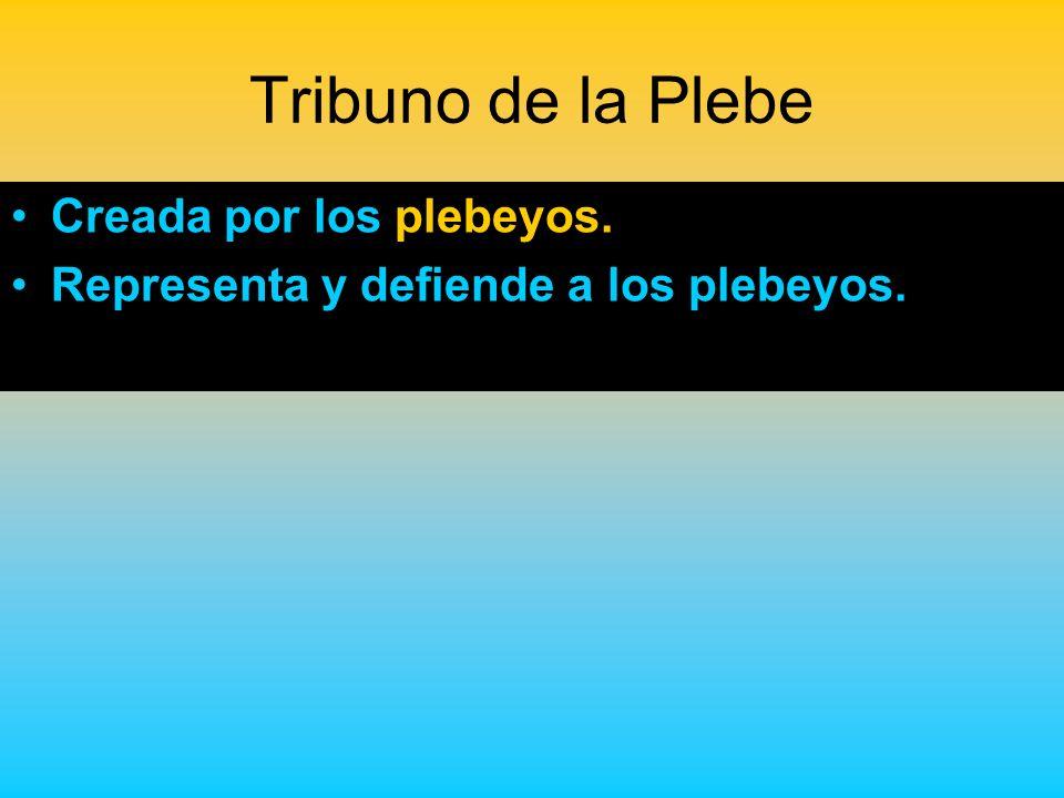 Tribuno de la Plebe Creada por los plebeyos.
