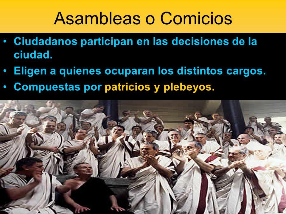 Asambleas o ComiciosCiudadanos participan en las decisiones de la ciudad. Eligen a quienes ocuparan los distintos cargos.
