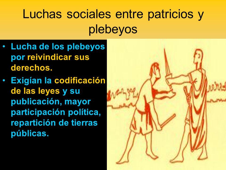 Luchas sociales entre patricios y plebeyos
