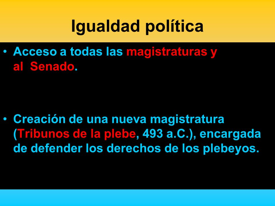 Igualdad política Acceso a todas las magistraturas y al Senado.