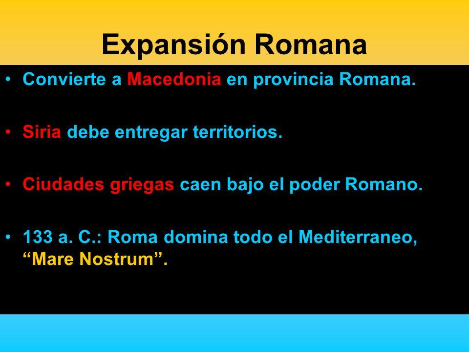 Expansión Romana Convierte a Macedonia en provincia Romana.