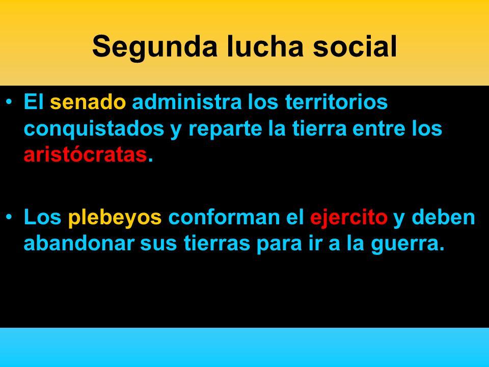 Segunda lucha social El senado administra los territorios conquistados y reparte la tierra entre los aristócratas.