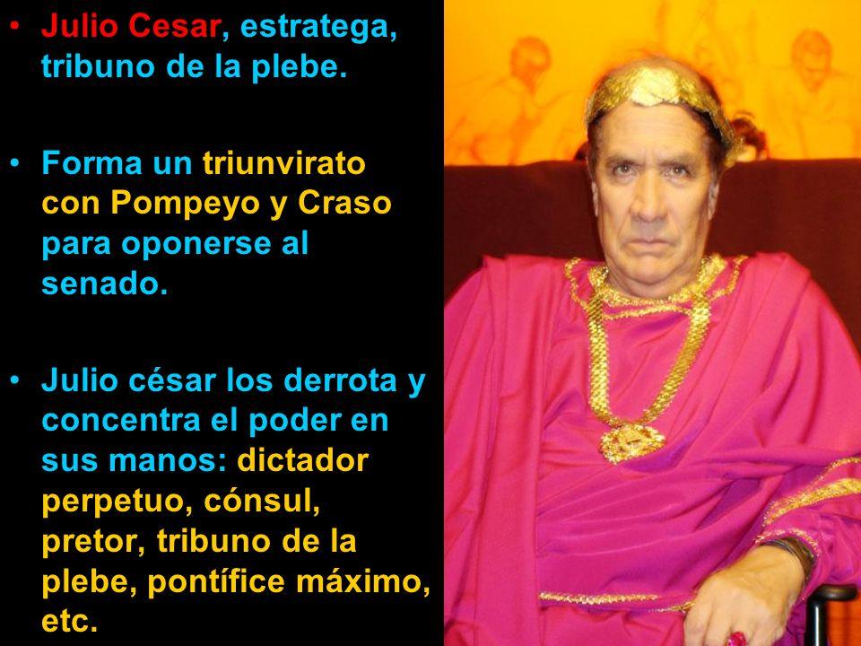 Julio Cesar, estratega, tribuno de la plebe.