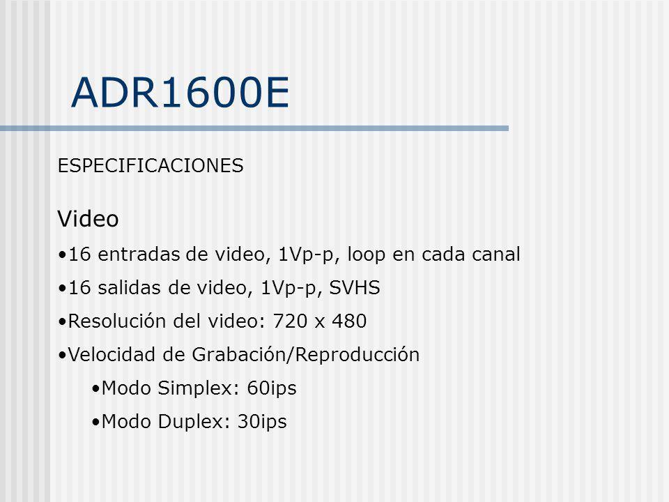 ADR1600E Video ESPECIFICACIONES
