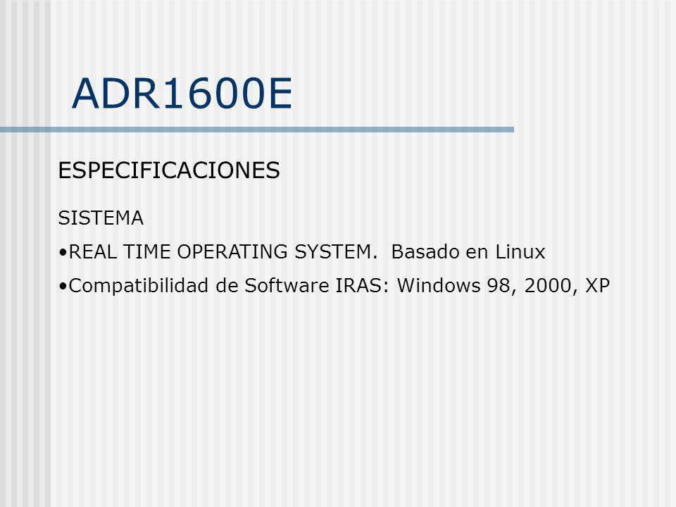 ADR1600E ESPECIFICACIONES SISTEMA
