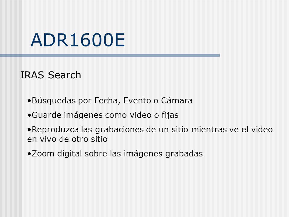 ADR1600E IRAS Search Búsquedas por Fecha, Evento o Cámara