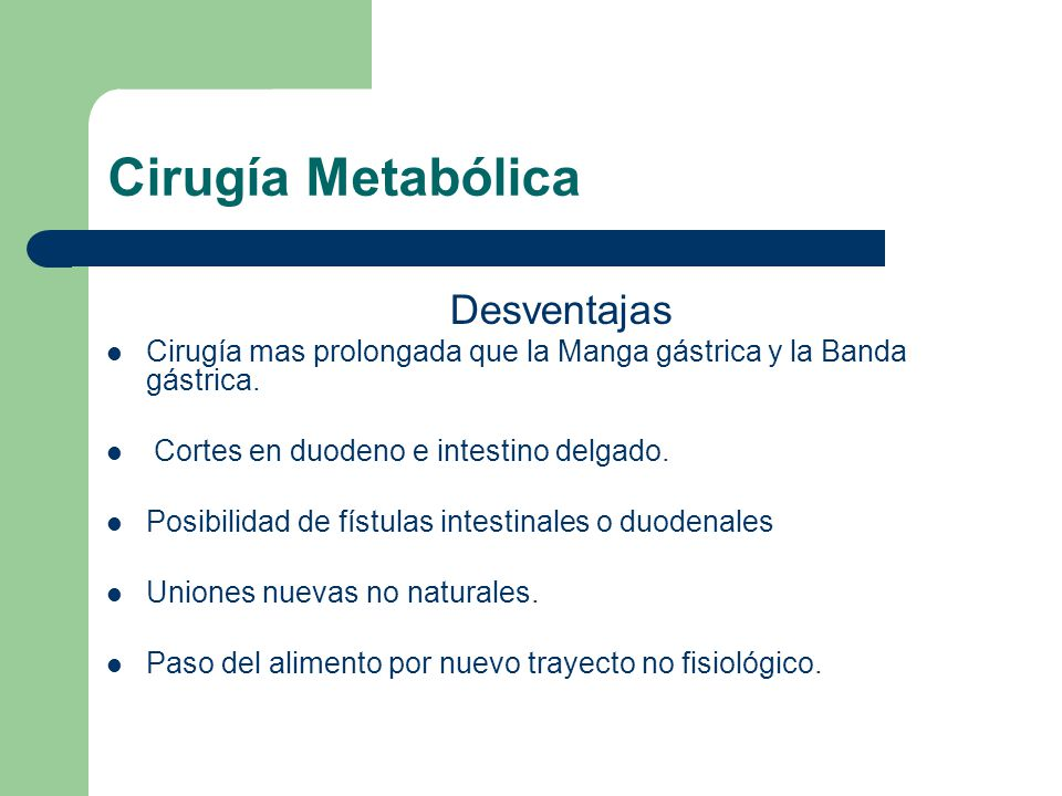Cirugía Metabólica Desventajas