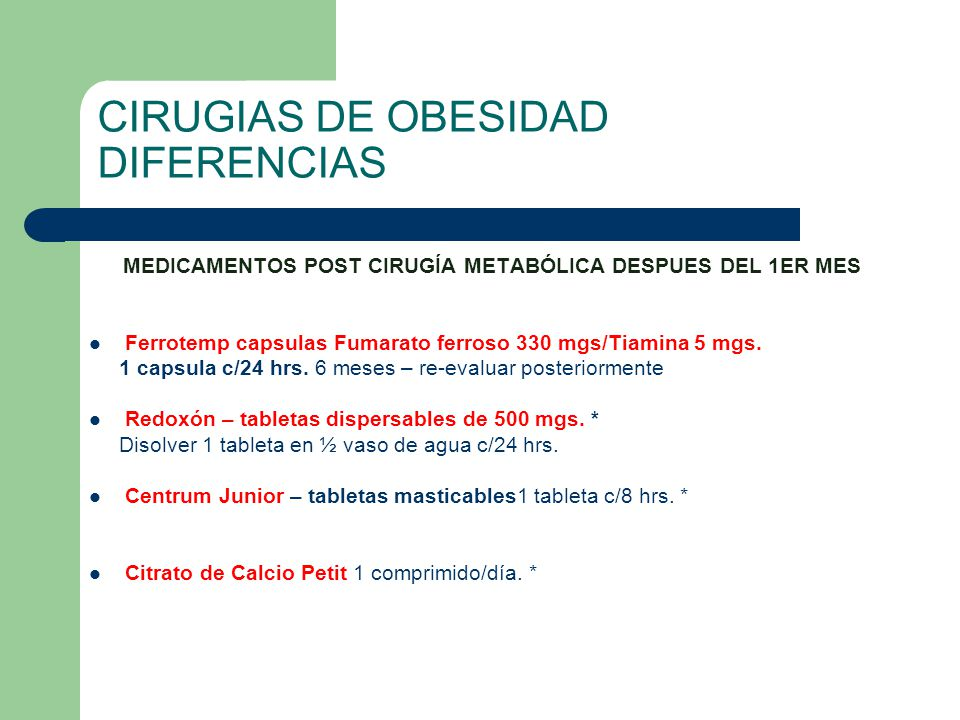 CIRUGIAS DE OBESIDAD DIFERENCIAS