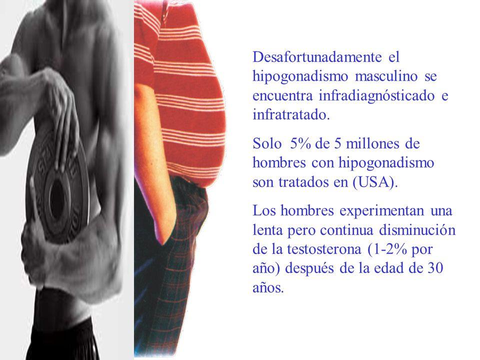 Desafortunadamente el hipogonadismo masculino se encuentra infradiagnósticado e infratratado.