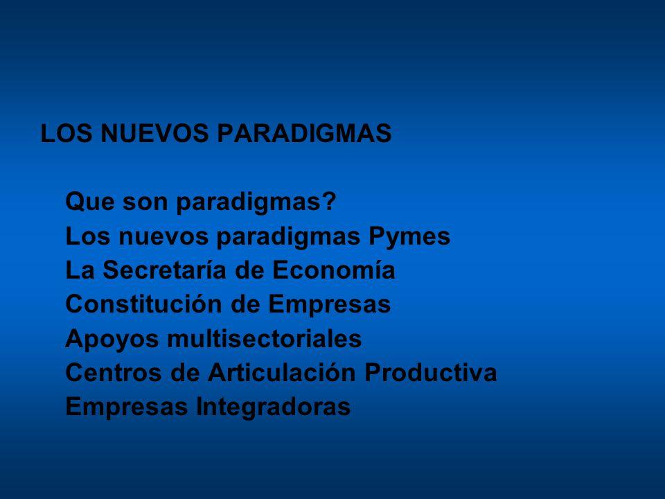 LOS NUEVOS PARADIGMAS Que son paradigmas Los nuevos paradigmas Pymes. La Secretaría de Economía.