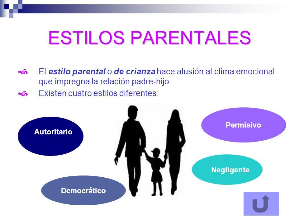 ESTILOS PARENTALES El estilo parental o de crianza hace alusión al clima emocional que impregna la relación padre-hijo.