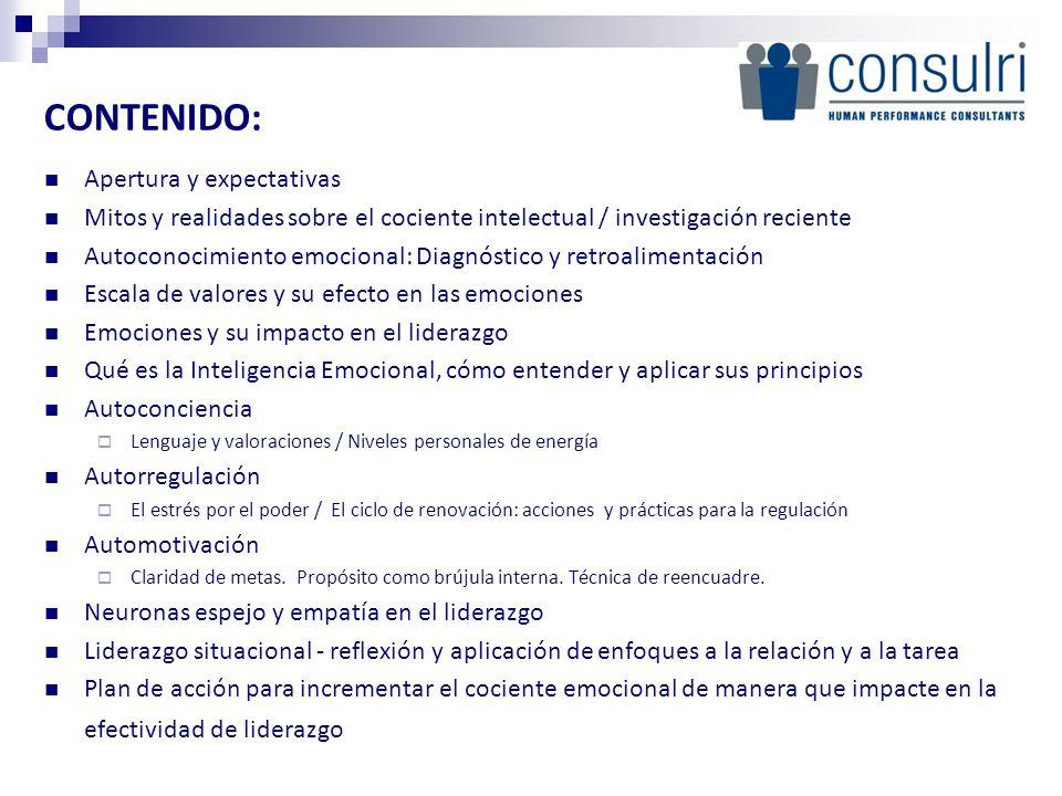 CONTENIDO: Apertura y expectativas