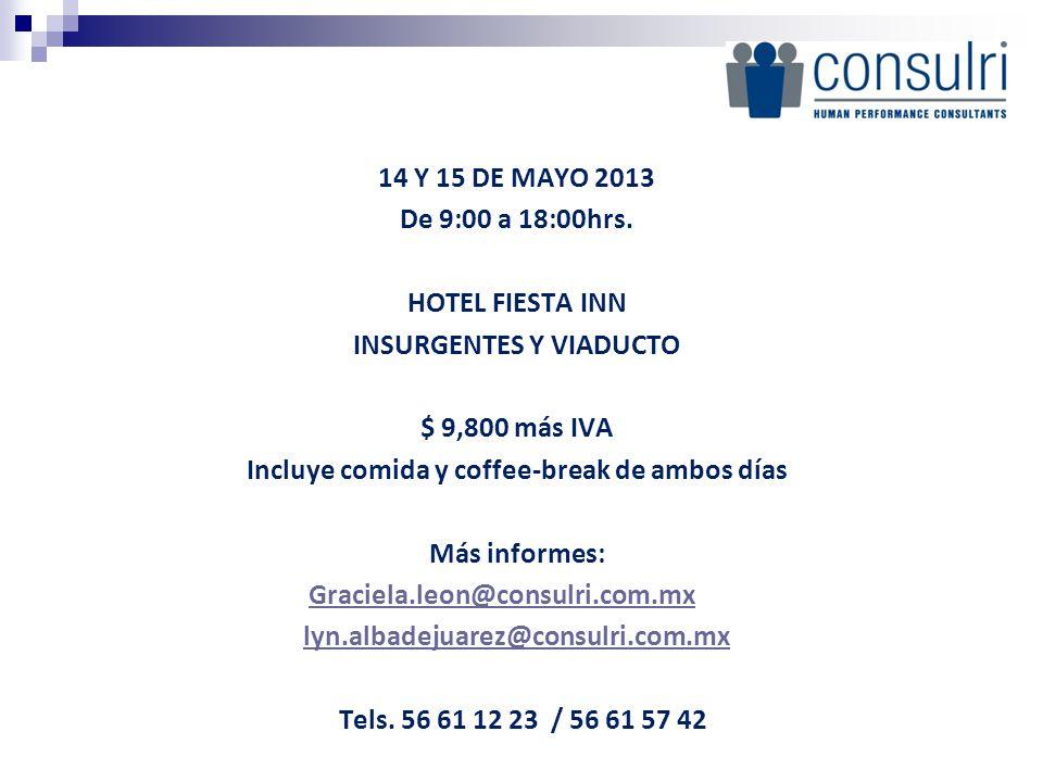 14 Y 15 DE MAYO 2013 De 9:00 a 18:00hrs. HOTEL FIESTA INN INSURGENTES Y VIADUCTO $ 9,800 más IVA Incluye comida y coffee-break de ambos días Más informes: Graciela.leon@consulri.com.mx lyn.albadejuarez@consulri.com.mx Tels. 56 61 12 23 / 56 61 57 42