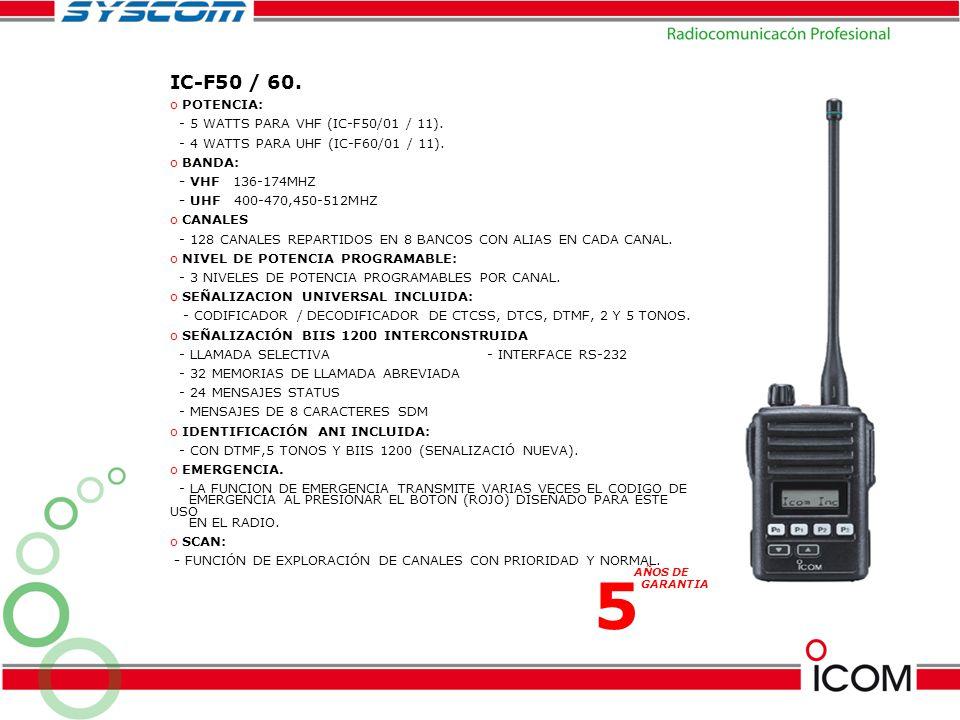 5 IC-F50 / 60. POTENCIA: - 5 WATTS PARA VHF (IC-F50/01 / 11).