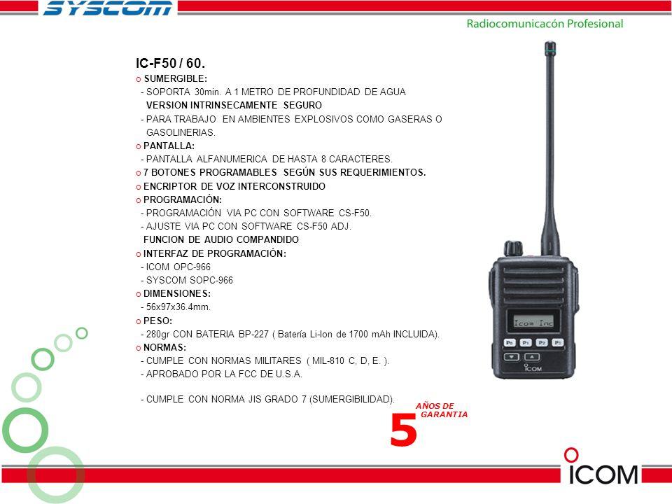 IC-F50 / 60. SUMERGIBLE: - SOPORTA 30min. A 1 METRO DE PROFUNDIDAD DE AGUA. VERSION INTRINSECAMENTE SEGURO.