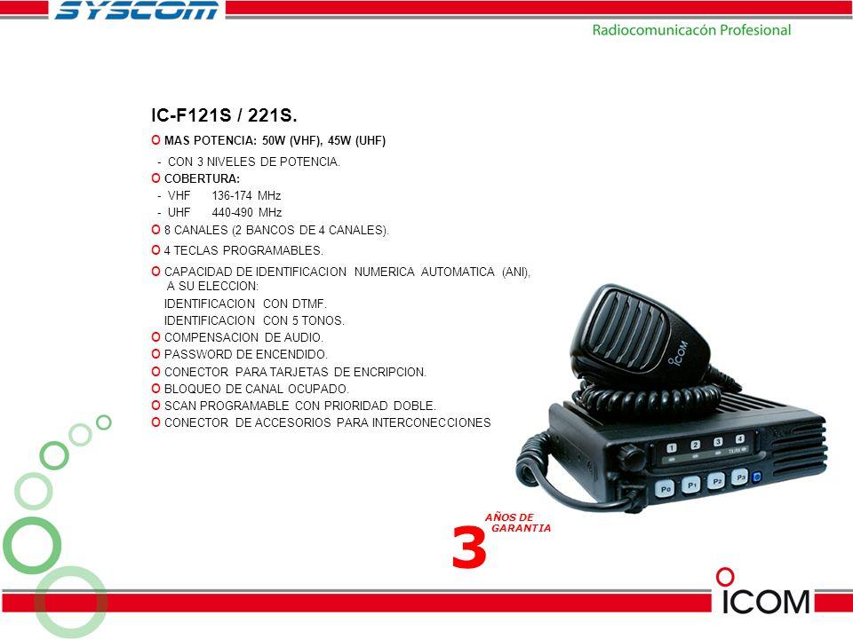 3 IC-F121S / 221S. MAS POTENCIA: 50W (VHF), 45W (UHF)