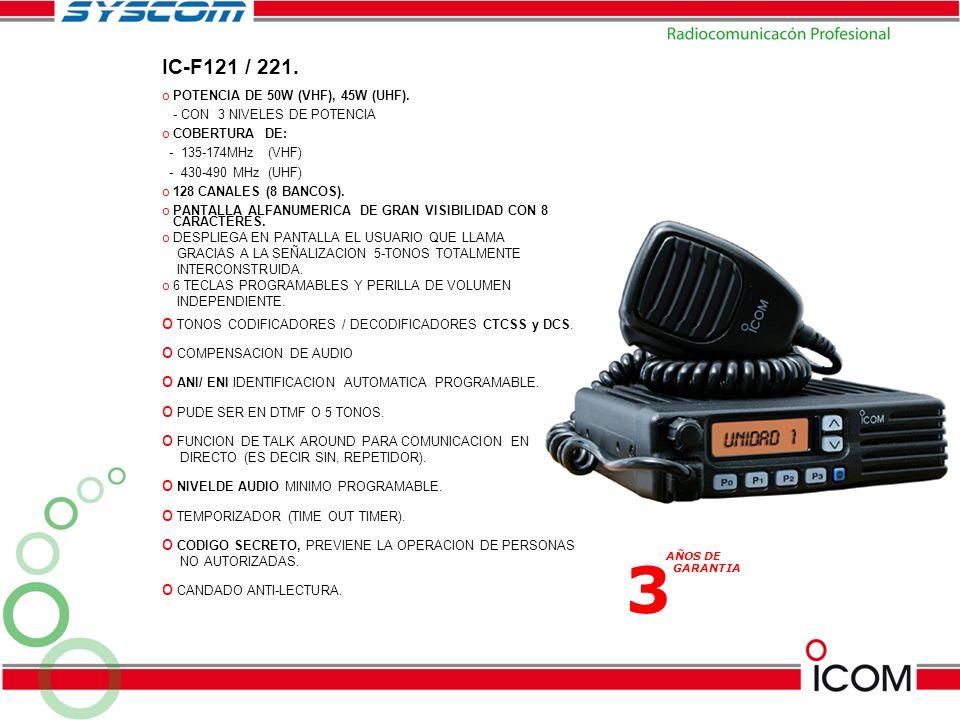 3 IC-F121 / 221. POTENCIA DE 50W (VHF), 45W (UHF).