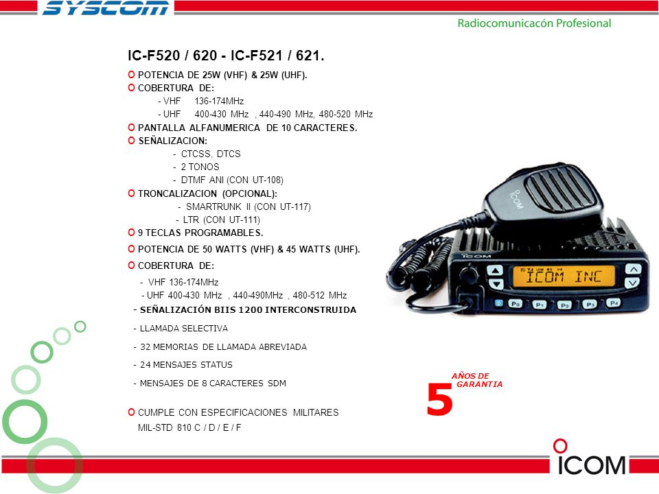 5 IC-F520 / 620 - IC-F521 / 621. POTENCIA DE 25W (VHF) & 25W (UHF).
