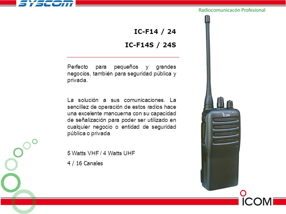 IC-F14 / 24 IC-F14S / 24S. Perfecto para pequeños y grandes negocios, también para seguridad pública y privada.
