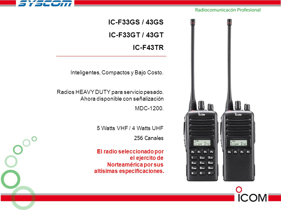 IC-F33GS / 43GS IC-F33GT / 43GT IC-F43TR