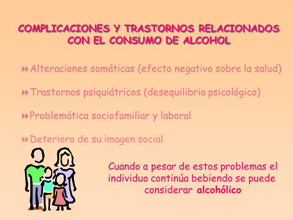 COMPLICACIONES Y TRASTORNOS RELACIONADOS CON EL CONSUMO DE ALCOHOL