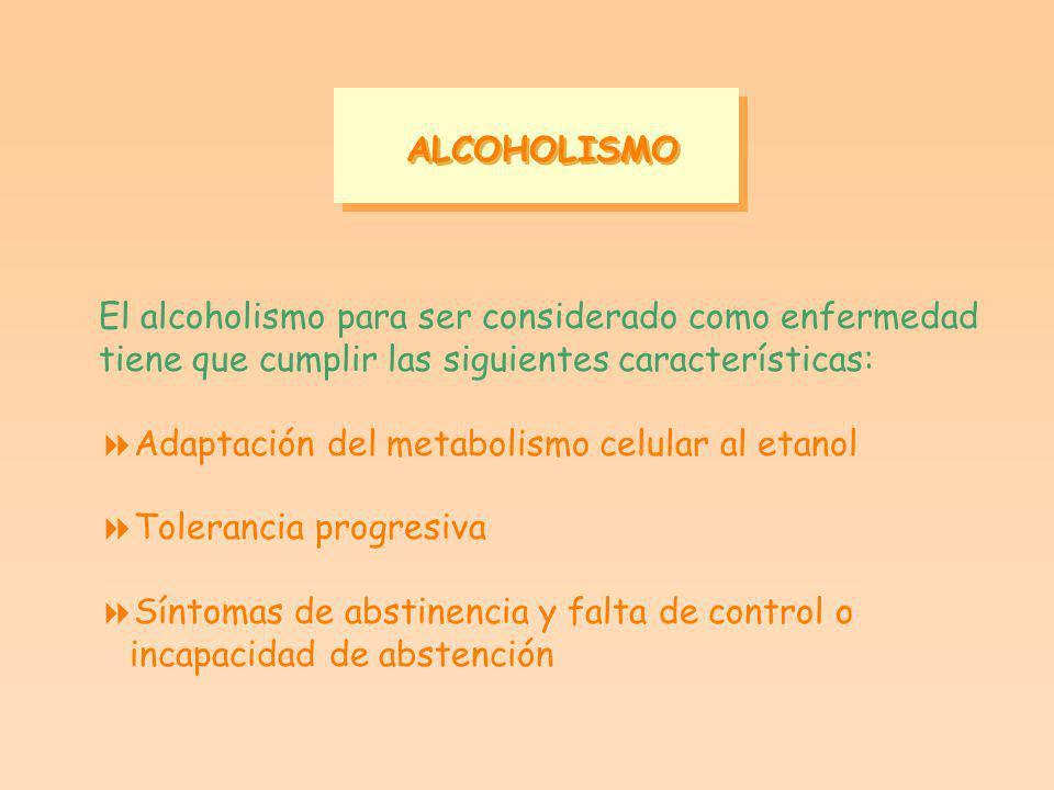 ALCOHOLISMO El alcoholismo para ser considerado como enfermedad. tiene que cumplir las siguientes características: