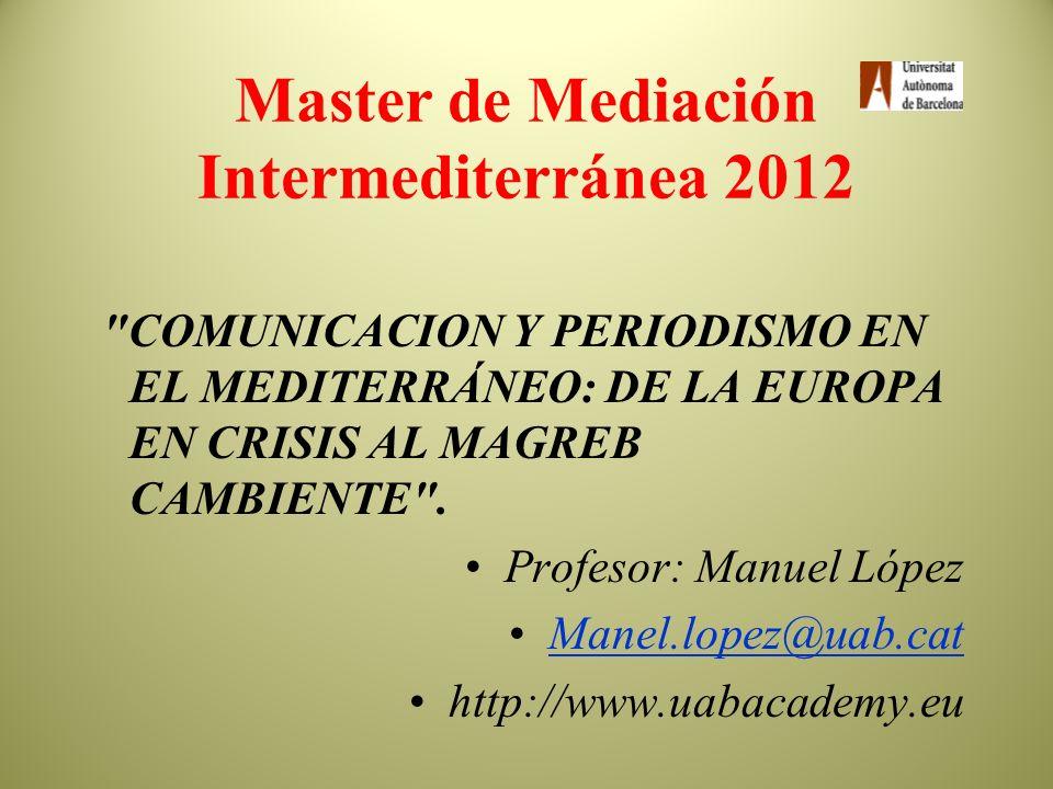 Master de Mediación Intermediterránea 2012