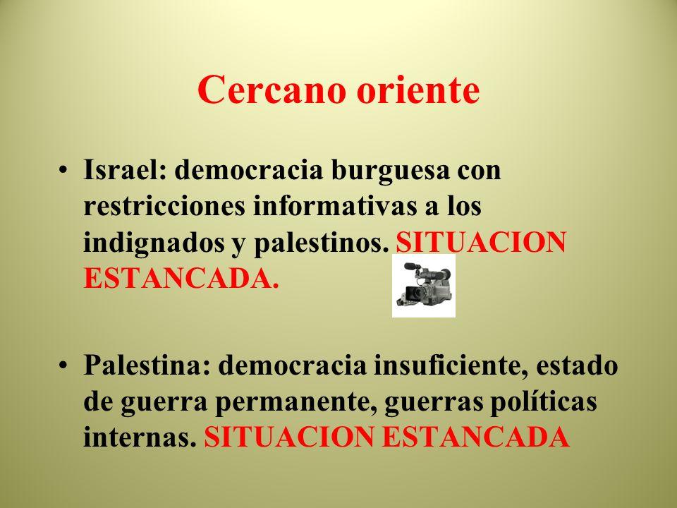 Cercano oriente Israel: democracia burguesa con restricciones informativas a los indignados y palestinos. SITUACION ESTANCADA.