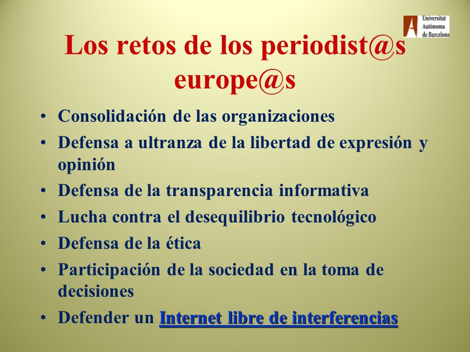 Los retos de los periodist@s europe@s