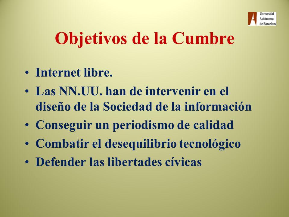 Objetivos de la Cumbre Internet libre.