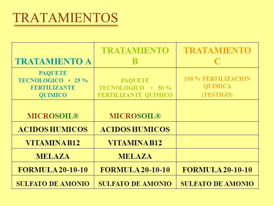 TRATAMIENTOS TRATAMIENTO A TRATAMIENTO B TRATAMIENTO C MICROSOIL®