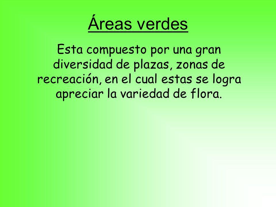 Áreas verdesEsta compuesto por una gran diversidad de plazas, zonas de recreación, en el cual estas se logra apreciar la variedad de flora.