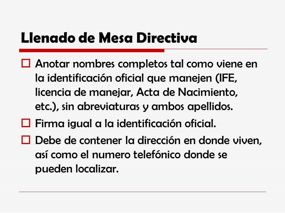 Llenado de Mesa Directiva