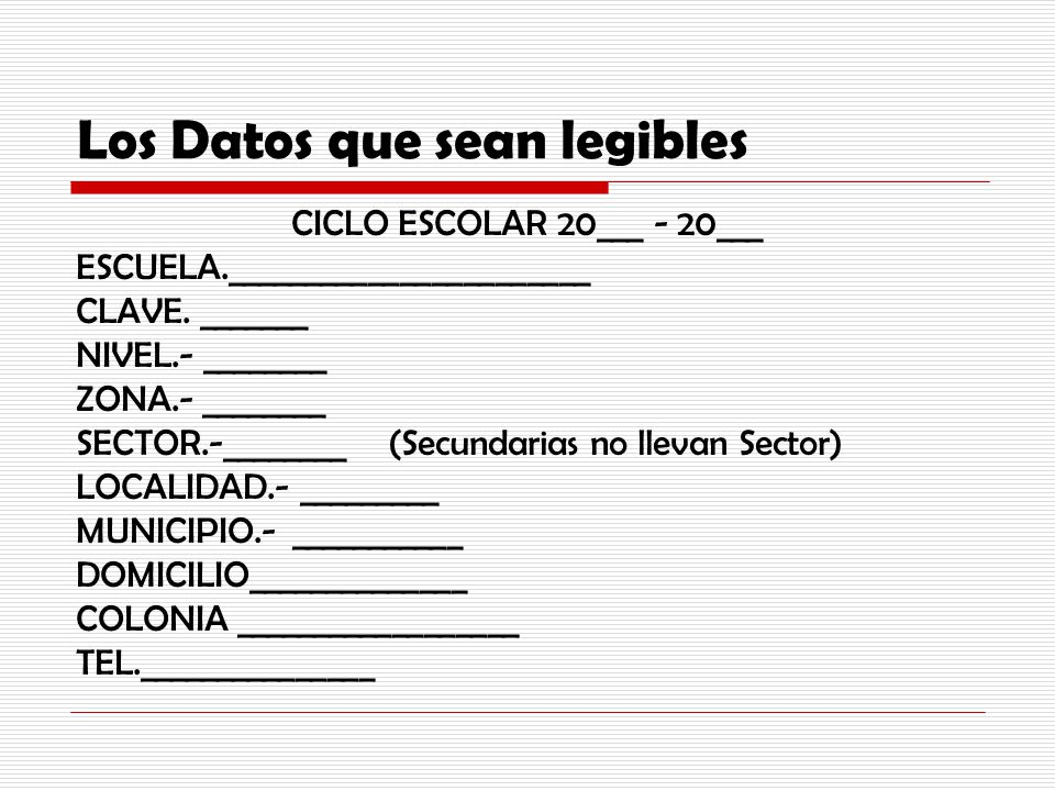 Los Datos que sean legibles