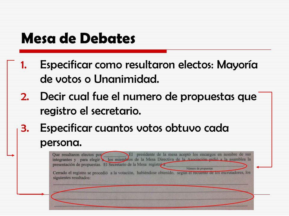 Mesa de Debates Especificar como resultaron electos: Mayoría de votos o Unanimidad.