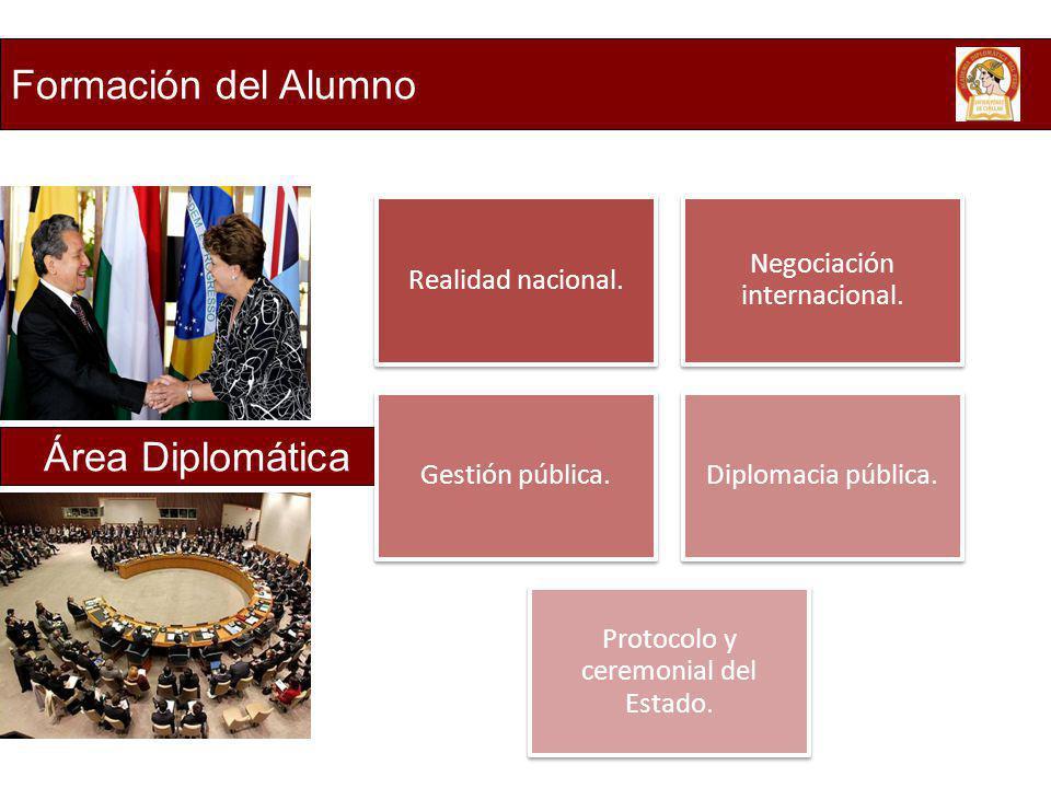 Formación del Alumno Área Diplomática Realidad nacional.