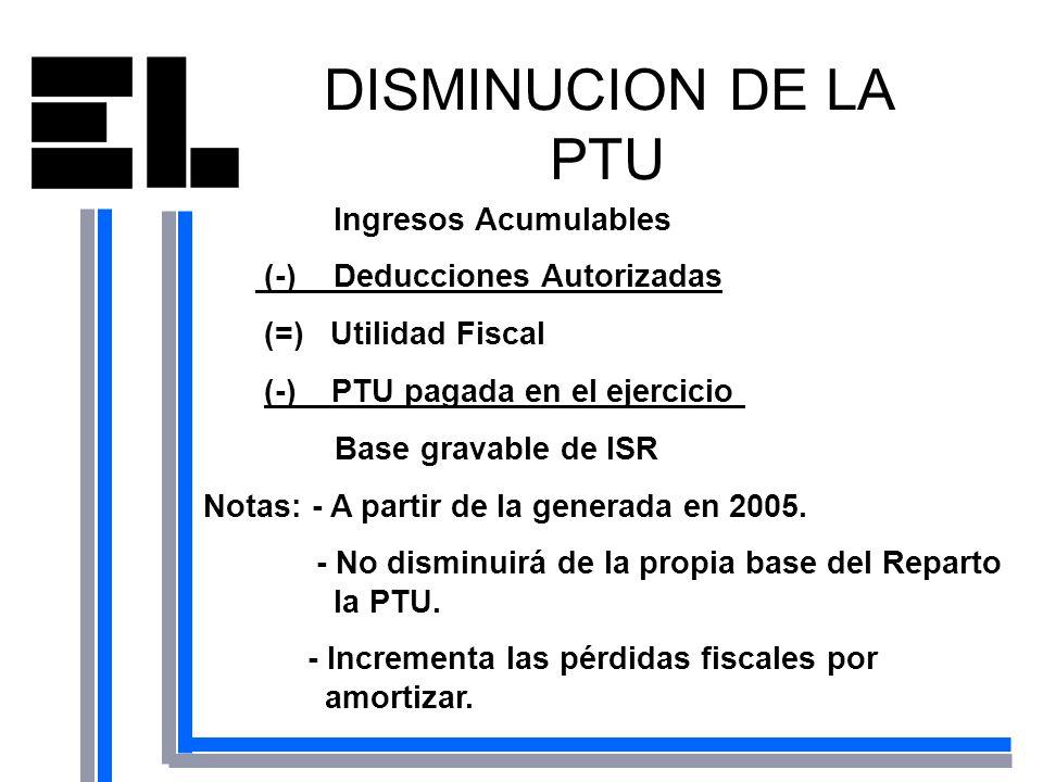 DISMINUCION DE LA PTU Ingresos Acumulables (-) Deducciones Autorizadas