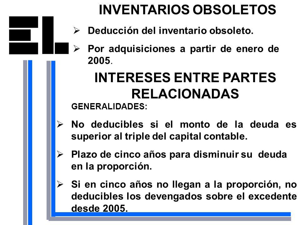 INVENTARIOS OBSOLETOS INTERESES ENTRE PARTES RELACIONADAS