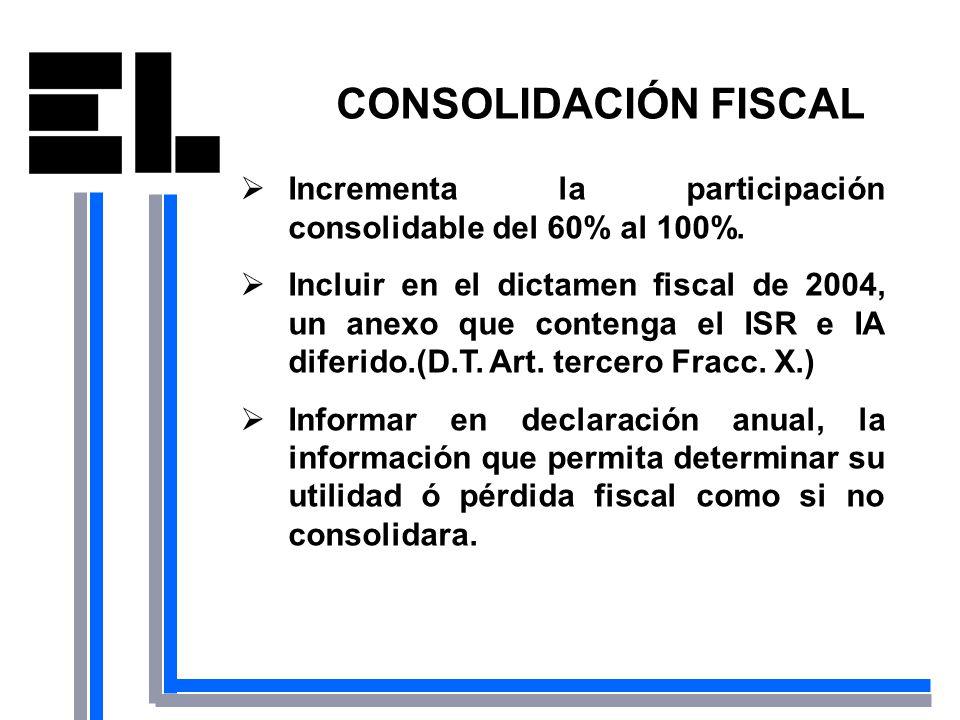 CONSOLIDACIÓN FISCAL Incrementa la participación consolidable del 60% al 100%.
