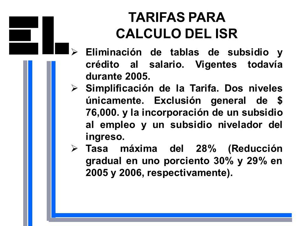 TARIFAS PARA CALCULO DEL ISR
